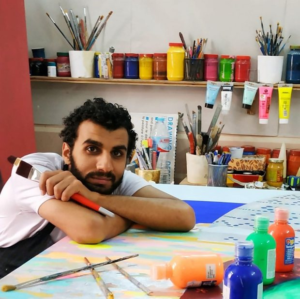 Ahmed Helall at his studio
