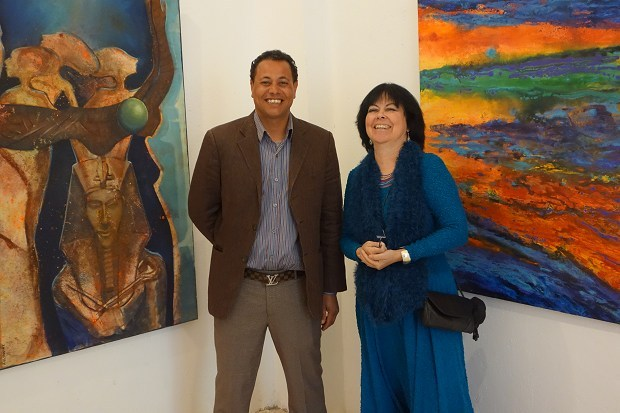Sayed Qinawi and Claudia Ali at the opening exhibition Nūn - The Inspiration